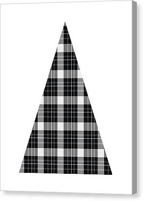 Tartan Canvas Print - Modern Black And White Tree 3- Art By Linda Woods by Linda Woods