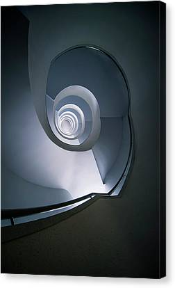 Canvas Print featuring the photograph Modern Blue Spiral Staircase by Jaroslaw Blaminsky