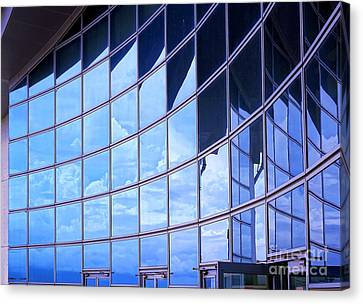 Canvas Print featuring the photograph Modern Building Facade With Reflection by Yali Shi
