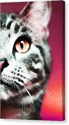 Modern Cat Art - Zebra Canvas Print by Sharon Cummings