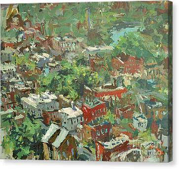 Canvas Print featuring the painting Modern Cityscape Painting Featuring Downtown Richmond Virginia by Robert Joyner