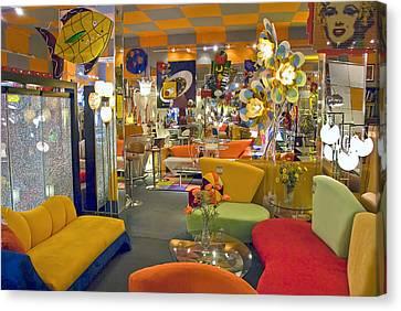 Canvas Print featuring the photograph Modern Deco Furniture Store Interior by David Zanzinger