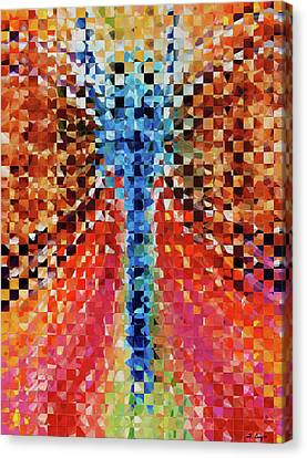 Modern Dragonfly Art - Pieces 6 - Sharon Cummings Canvas Print by Sharon Cummings