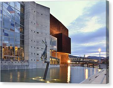 Canvas Print featuring the photograph Modern Euskalduna Center Bilbao by Marek Stepan