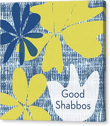 Modern Floral Good Shabbos- Art By Linda Woods Canvas Print