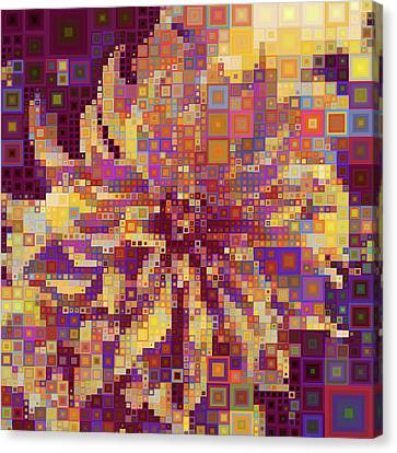 Modern Geometric Abstract Sunflower Canvas Print by Georgiana Romanovna