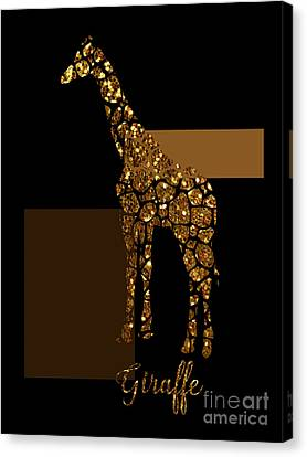 Modern Gilt Giraffe, Gold Black Brown Canvas Print