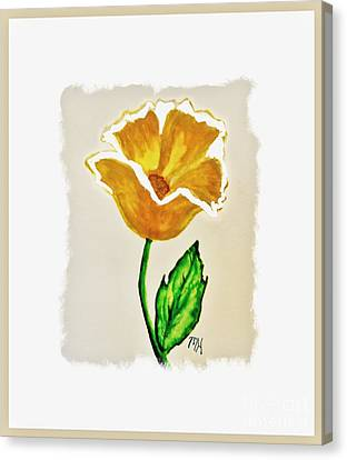 Modern Gold Flower Canvas Print by Marsha Heiken