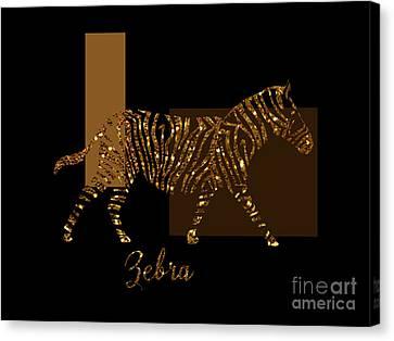 Modern Golden Zebra, Gold Black Brown Canvas Print by Tina Lavoie