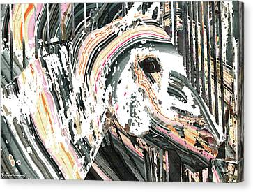 Stable Canvas Print - Modern Horse Art By Sharon Cummings by Sharon Cummings