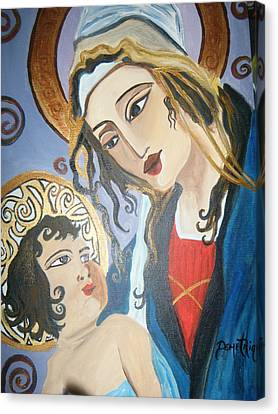 Modern Mother And Child Canvas Print by Demetria Kelley