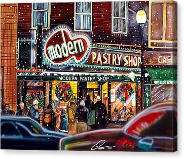 Modern Pastry Of Boston At Christmas Canvas Print by Dave Olsen