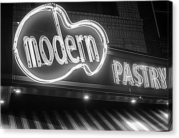 Modern Pastry Shop Boston Ma North End Hanover Street Neon Sign Black And White Canvas Print by Toby McGuire