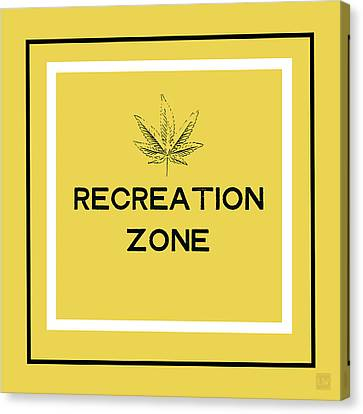 Canvas Print featuring the mixed media Modern Recreation Zone Sign- Art By Linda Woods by Linda Woods
