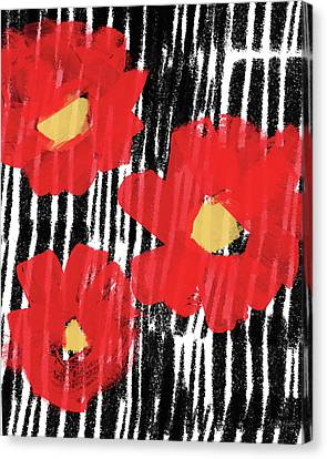 Canvas Print featuring the mixed media Modern Red Flowers- Art By Linda Woods by Linda Woods