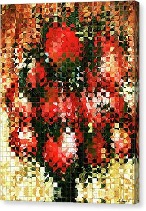 Glass And Metal Art Canvas Print - Modern Red Poppies - Pieces 4 - Sharon Cummings by Sharon Cummings