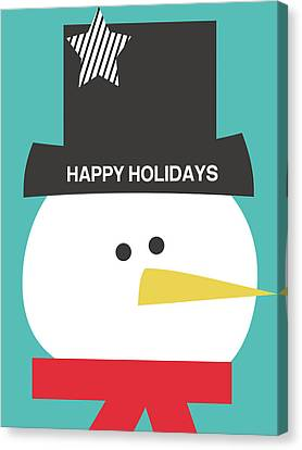 Modern Snowman Happy Holidays- Art By Linda Woods Canvas Print by Linda Woods