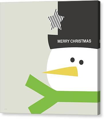 Modern Snowman Merry Christmas- Art By Linda Woods Canvas Print by Linda Woods