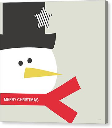 Modern Snowman Merry Christmas Red- Art By Linda Woods Canvas Print by Linda Woods