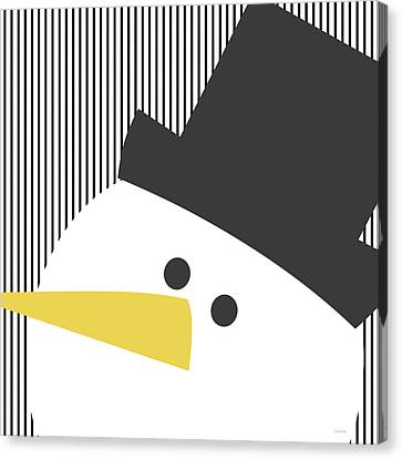 Modern Snowman On Stripes- Art By Linda Woods Canvas Print by Linda Woods