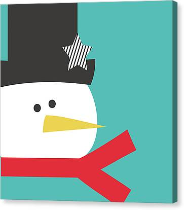 Modern Snowman With Star- Art By Linda Woods Canvas Print by Linda Woods