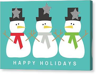 Modern Snowmen Happy Holidays- Art By Linda Woods Canvas Print by Linda Woods