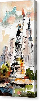 Canvas Print featuring the painting Modern Statue Of Liberty New York Watercolor by Ginette Callaway