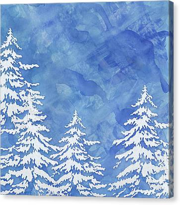 Modern Watercolor Winter Abstract - Snowy Trees Canvas Print by Audrey Jeanne Roberts