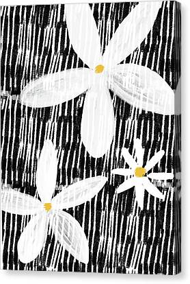 Canvas Print featuring the mixed media Modern White Flowers- Art By Linda Woods by Linda Woods