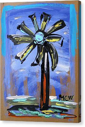 Canvas Print featuring the painting Modern Wind Power by Mary Carol Williams