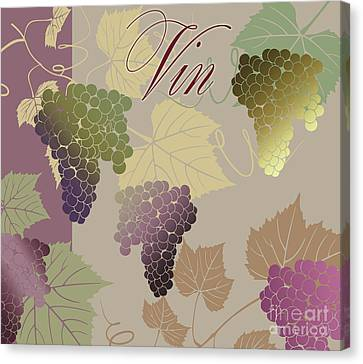 Grape Leaves Canvas Print - Modern Wine Iv by Mindy Sommers
