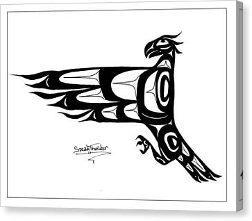 Mohawk Eagle Black Canvas Print by Speakthunder Berry