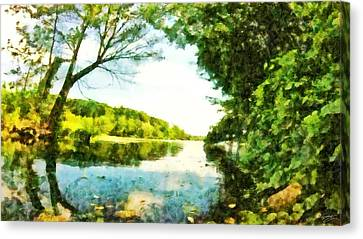 Canvas Print featuring the photograph Mohegan Lake By The Bridge by Derek Gedney