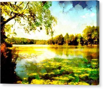 Canvas Print featuring the painting Mohegan Lake Hidden Oasis by Derek Gedney