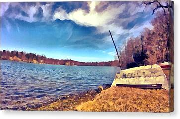 Canvas Print featuring the painting Mohegan Lake Lonely Boat by Derek Gedney