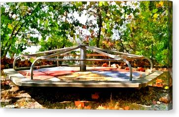 Canvas Print featuring the painting Mohegan Lake Merry-go-round by Derek Gedney