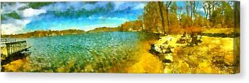 Canvas Print featuring the painting Mohegan Lake Panoramic Beach by Derek Gedney