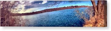 Canvas Print featuring the painting Mohegan Lake Panoramic Lake by Derek Gedney