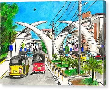 Moi Ave, Mombasa Tusks  Canvas Print