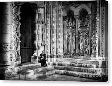 Medieval Entrance Canvas Print - Moissac Abbey Entrance Bw by RicardMN Photography