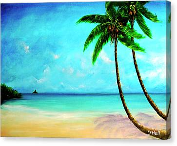 Mokolii Chinamans Hat From Waiahole Beach Park #280 Canvas Print by Donald k Hall
