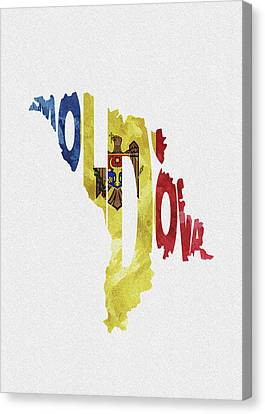 Dirty Canvas Print - Moldova Typographic Map Flag by Inspirowl Design