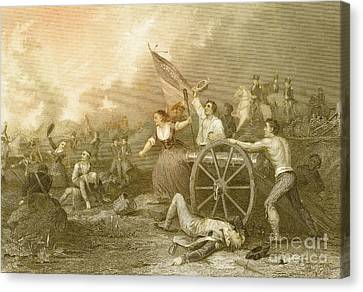 Molly Pitcher At The Battle Of Monmouth Canvas Print by Photo Researchers