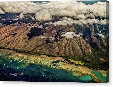 Canvas Print featuring the photograph Molokai From The Sky by Joann Copeland-Paul