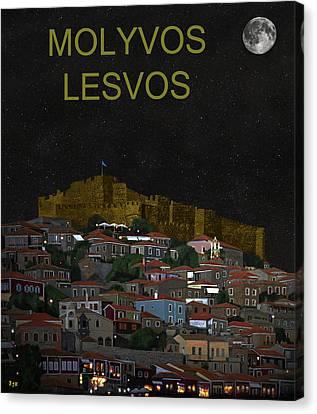 Molyvos By Night  Molyvos Lesvos Greece   Canvas Print by Eric Kempson