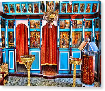 Molyvos Harbour Chapel Canvas Print