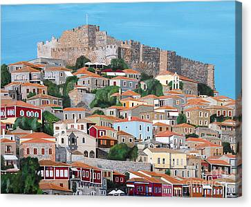 Canvas Print featuring the painting Molyvos Lesvos Greece by Eric Kempson