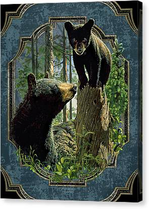 Mom And Cub Bear Canvas Print by JQ Licensing