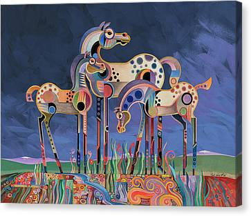 Mom And Foals Canvas Print by Bob Coonts