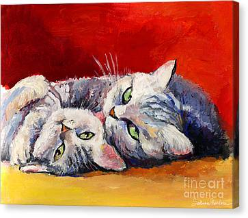 Mom And Kitten Cat Painting Canvas Print